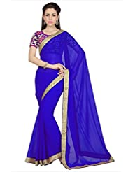 Designersareez Women Royal Blue Faux Georgette Saree With Unstitched Blouse (1625)