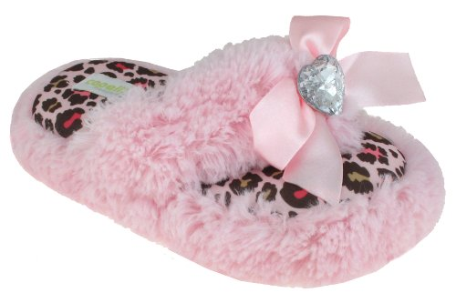 Cheap Capelli New York Long Pile Bunny Fur Satin Bow And Heart Girls Indoor Slipper (B005EMUASQ)