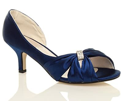 Chic Feet Womens Ladies Navy Blue Satin Wedding Bridal Low