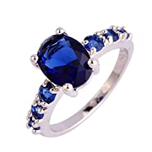 buy Psiroy 925 Sterling Silver Stunning Created Gorgeous Women'S 7Mm*9Mm Oval & Round Cut Sapphire Quartz Charms Filled Ring