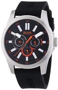 Hugo Boss Orange - 1512933 - Montre Homme - Quartz Analogique - Cadran Noir - Bracelet Silicone Noir