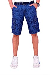 Origin Smart Navy Casual Fix waist Patterned Cotton Shorts With Belt For Men   OR6238NVY