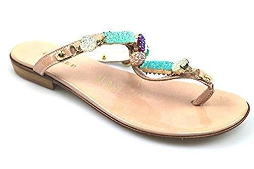 scarpe donna CESARE PACIOTTI 36 EU infradito beige vernice AS901