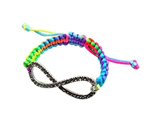 Rainbow String One Direction Bracelet W Iced Out Infinity Directioner Charm Xb293 from NYfashion101inc