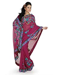 Designersareez Women Faux Georgette Embroidered Deep Pink Saree With Unstitched Blouse(685)