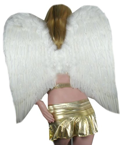 SACAS Large White Feather Angel Wings for photo props, cosplay, adults