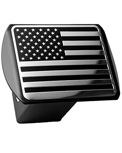 Fantastic Deal! USA US American Flag 3d Chrome Emblem on Black Trailer Metal Hitch Cover Fits 2 Rec...