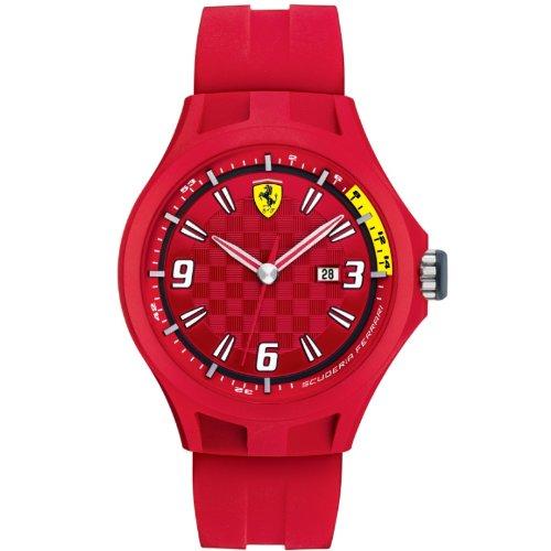 Ferrari 830007 - Reloj analógico de cuarzo para hombre, correa de silicona color rojo