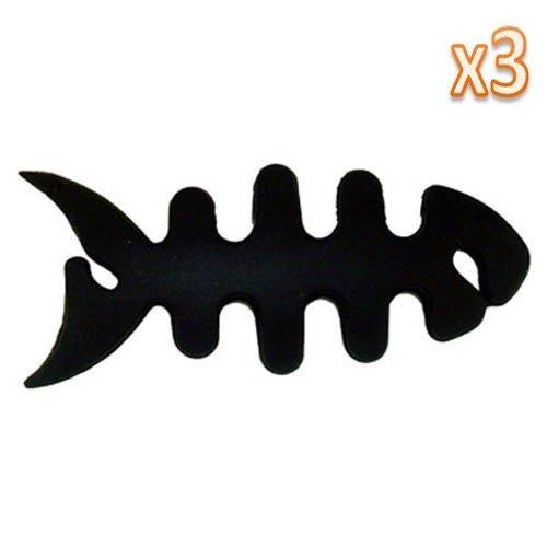 Umiwe(Tm) 3Pcs X Smart Fish Bone Headset Earphone Headphone Handfree Cord Wrap (Black) With Umiwe Accessory
