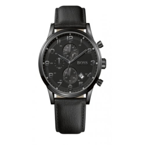 Hugo Boss 1512567 - Reloj analógico de cuarzo para hombre con correa de piel, color negro