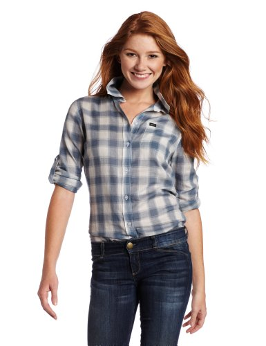 RVCA Juniors Sterio Plaid Long Sleeve Shirt, Blue Mirage, Medium