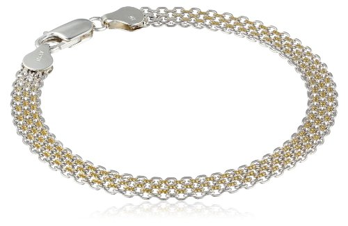 Italian Sterling Silver 4.1Mm Wide Two-Tone Rhodium And Yellow Gold Plated Double Bismark Bracelet, 7.5""