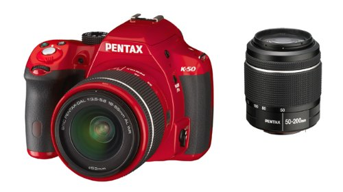 Pentax K-50 Dslr Camera With Dal 18-55mm Wr And Dal 50-200mm Wr Lens Kit - Red (16mp, Cmos Aps-c Sensor) 3 Inch Lcd