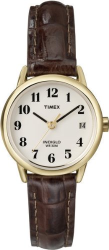 Timex White Dial and Brown Leather Strap Ladies Watch - T20071Pf