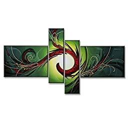 Neron Art - Rainforest Abstract Oil Paintings Set of 4 Panels on Gallery Wrapped Canvas 56X32 inch (142X81 cm)