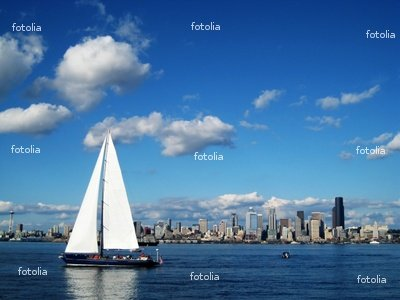 "Wallmonkeys Peel and Stick Wall Graphic - Seattle Skyline with a Large Sailboat - 24""W x 18""H"