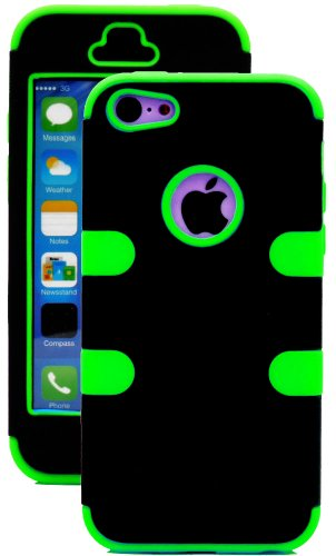 Mylife (Tm) Bright Green + Black 3 Layer (Hybrid Flex Gel) Grip Case For New Apple Iphone 5C Touch Phone (External 2 Piece Full Body Defender Armor Rubberized Shell + Internal Gel Fit Silicone Flex Protector + Lifetime Waranty + Sealed Inside Mylife Autho