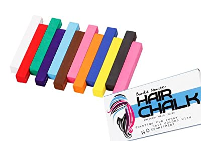 Bundle Monster Non-Toxic Temporary Hair Pastel Chalk Beauty Kit - Mix Color Variety Beauty Design, 12pc - UPC: 700580458559