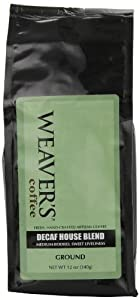 Weaver's Coffee and Tea Decaf House Blend, Ground, 12-Ounce Bags (Pack of 2)