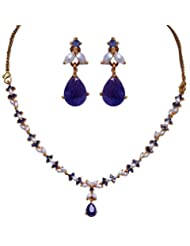 Gehna Pearl & Blue Sapphire Stone Studded Necklace Set With Yellow Gold Plating