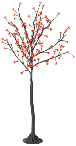 Arclite Nbl-130-7 Cherry Blossom Tree, 4.5' Height, With Black Trunk, Red Crystals And Red Lights