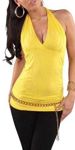 Sexy Neck-Top Shirt mit V-Ausschnitt Rückenfrei Einheitsgröße 34,36,38 verschiedene Farben