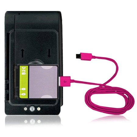 Replacement Generic Battery For Blackberry Tour 9630 (D-X1) + Universal Battery Charger With Usb Port + Micro Usb V8 Pink Data Cable Combo (Verizon, Sprint, U.S. Cellular)