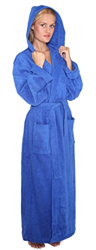 Women's Full Length Hooded Turkish Cotton Bathrobe
