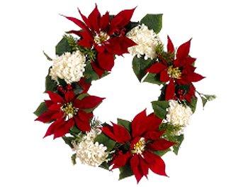 Poinsettia christmas door wreaths christmas wikii for Poinsettia christmas tree frame