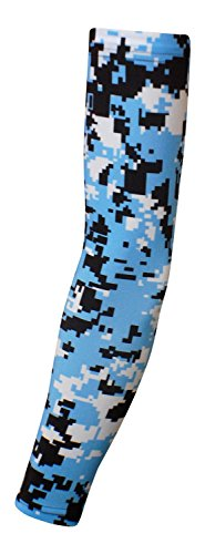 Nexxgen Sports Apparel Moisture Wicking Compression Arm Sleeve (Single) - Men, Women, Adult & Youth - 40 Colors - Digital Camo & Elite (Youth Large, Light Blue/Black/White)
