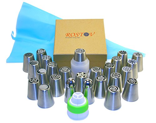ROSTOV Premium Russian Piping Tips 38PCS/SET Stainless Steel Large Size DIY Icing Syringe Set with 2 Russian Ball Nozzles 11 Pastry Bags 2 Decorating Couplers