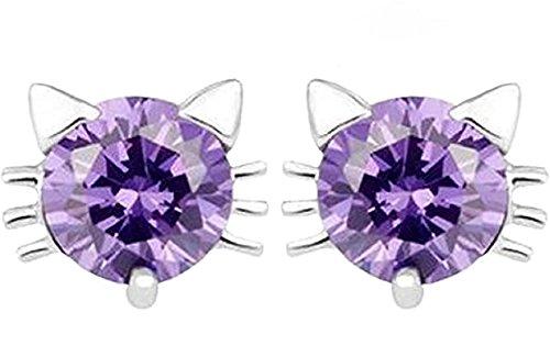 Argento Sterling 925moda gatto Puffo Cubic Zirconia Orecchini ipoallergenici per le donne, argento, colore: Purple, cod. SX150914007-Purple