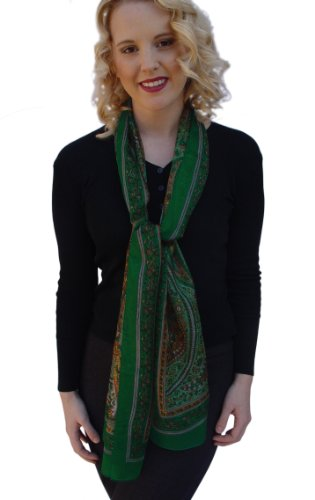 Paisley Oblong Silk Scarf, Wrap, Stole: Green