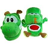 "Green Yoshi Plush Slipper Kids Size - Up to 7.5"" long feet"