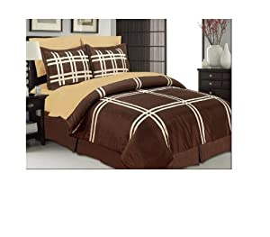 manhattan heights monotone faux dupioni bed in a bag 8 piece set queen chocolate. Black Bedroom Furniture Sets. Home Design Ideas