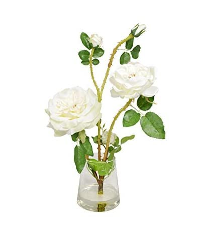 Creative Displays White Roses in a Glass Vase