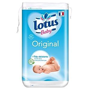 Lotus Baby Original - Cotons Carrés - 80 Cotons Bébé Bi-Faces