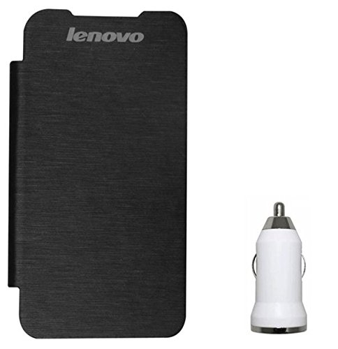 Chevron Flip Cover With USB Car Charger for Lenovo A369i (Black)