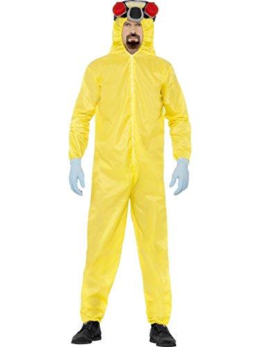 Breaking Bad - Costume di Heisenberg in 4 pezzi tratto dalla serie - Tuta, guanti, copricapo e barba - Licenza ufficiale - L