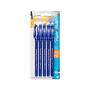 Erasermate Stick Ballpoint Pens, Medium Point, Blue Ink, 4-Pack