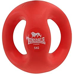 Lonsdale 2 Handle Core Strenght & Stability Home Workout Medicine Ball 10kg Red 5KG