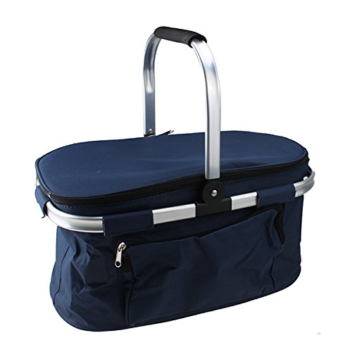 Aluminum Frame Folding Picnic Basket Collapsible Shopping Basket-Dark Navy
