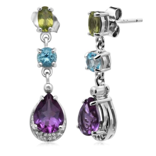 Jewelili Diamond Dangle Earrings in Sterling Silver with Genuine Multi Color Stone