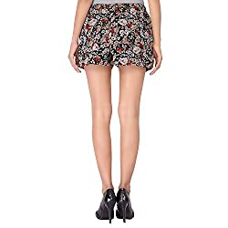Dream Fashion Chiffon Black flower Printed Shorts With Lining For women's