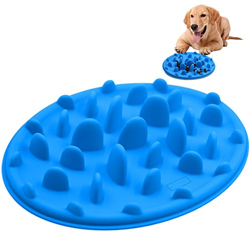 Slow Feed Dog Bowl, PETBABA Interactive Puzzle Nonskid Silicone Dog Food Bowl to Slow Down Eating Blue L (Slow Down Food Bowl compare prices)