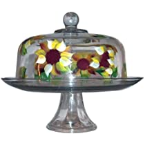 Sunflower Pedestal 2-piece Cake Plate with Dome Cover