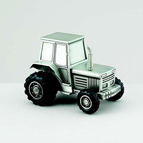 Tractor Replica Non-Tarnish Brushed Pewter Finish Keepsake Coin Bank - 1
