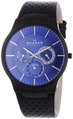 Skagen Men's Titanium Multifunction Watch - Black Leather Strap - Blue Dial - 809XLTBLN