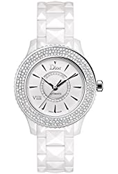 CLEARANCE PRICED TO SELL DIOR VIII Automatic Diamond White Ceramic Ladies 33mm Watch CD1235E5C001