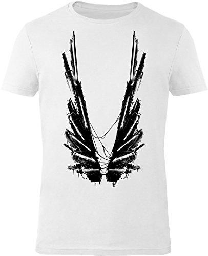 GOZOO Deus Ex T-shirt Uomo Icarus Wings 100% Cotone, Stampa di Alta Qualitá Bianca S